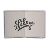 I Like you. Hand-lettering text . Handmade vector calligraphy for your design Royalty Free Stock Photo