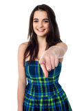 I like you very much !. Stylish teen girl pointing her finger to camera Stock Photo