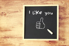 I like you written on chalkboard Stock Images
