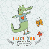 I like you. You are cute. Beautiful card with hand drawn crocodile character. Stock Photos