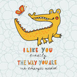 I like you. You are cute. Beautiful card with hand drawn crocodile character Royalty Free Stock Photo