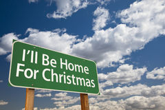 I'll Be Home For Christmas Green Road Sign Over Sky Royalty Free Stock Photo