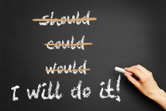 I'll do it! written on a chalkboard. Motivational slogan I'll do it! written on a chalkboard by hand Stock Photo