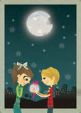 I'll give you the moon. A very romantic card, perfectly suitable for Valentine's Day or anniversary Stock Photography