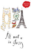 I'll meet u in Paris. Hand drawn, watercolor vector Illustration Stock Photos
