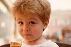 I look nice and so my hair does. Small boy with stylish haircut. Little child with short blond hair. Little child eating. Outdoor. Healthy hair care habits stock photography