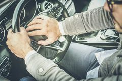 I am losing patience in traffic. Driver man using car siren. close up. Close up royalty free stock photography