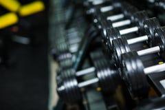 I lotti delle teste di legno del metallo, le attrezzature pesanti per la dimensione aumentante del muscolo e la forza su un buio  Immagini Stock Libere da Diritti
