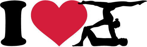 I love Acrobatics silhouettes. I love Acrobatics with silhouettes of acrobats Stock Images