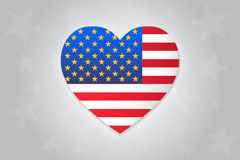 I Love America. Heart With United States Of America Flag And Golden Stars Stock Photos