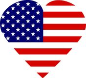 I Love America. Love heart made up of the American flag stars and stripes Stock Illustration