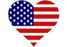 I love America. Heart shape filled by American flag. This is an illustrated  image that can be use as a icon,button or badge Royalty Free Stock Images