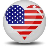 I love America. Heart shape filled by American flag. This is an illustrated vector image that can be use as a icon,button or badge Stock Photo