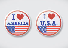 I Love America. i Love USA - Vector Button Badge Royalty Free Stock Photos