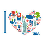 I love America. Sign heart of USA traditional folk characters. M Royalty Free Stock Images