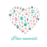 I love animals, Heart. Royalty Free Stock Photos