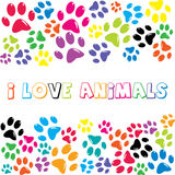 I Love Animals text with colorful paws print. On white background Stock Photos