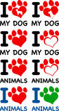 I Love Animals Text With Heart Paw Prints. Collection Set Royalty Free Stock Photography
