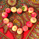 I Love Apples. Red-yellow little apples on the table royalty free stock photo