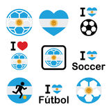 I love Argentine football, soccer icons set Royalty Free Stock Photos