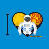 I love  astronauts. Symbol  heart of   planets and Cosmonaut. Ve Royalty Free Stock Photography
