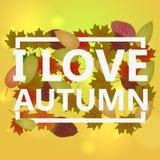 I love autumn. beautiful autumn background.  illustration Royalty Free Stock Photo