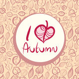 I love autumn, card design with heart shaped leaf. I love autumn, card design with heart shaped leaf, includes seamless pattern in background, vector Stock Photo
