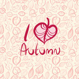 I love autumn, card design with heart shaped leaf. Royalty Free Stock Photo