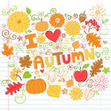 I Love Autumn Fall Leaves and Pumpkins Sketchy Doo. I Love Autumn Back to School Style Sketchy Notebook Doodles with Pumpkins, Leaves, and Autumn Flowers- Hand Royalty Free Stock Photo