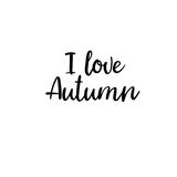 I love Autumn. Modern calligraphy. Handwritten card Royalty Free Stock Images