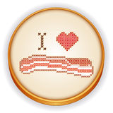 I Love Bacon Cross Stitch Embroidery on Wood Hoop Royalty Free Stock Photography