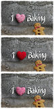 I Love Baking Message Decoration Gingham Fabric Heart And Ginger. I love baking message Christmas handmade decoration gingham fabric hearth over rustic Elm wood Royalty Free Stock Photography