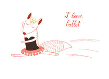 I love ballet fox. Hand drawn funny poster with a cute cartoon fox ballerina in a tutu and handwritten text I love ballet. Isolated objects on white background Stock Photos