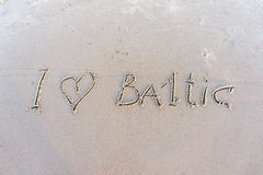 I love Baltic. Inscription on white sand. Royalty Free Stock Photos