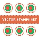 I Love Bangladesh vector stamps set. Royalty Free Stock Photography