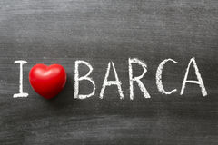 I love Barca. Phrase handwritten on the school blackboard royalty free stock photo