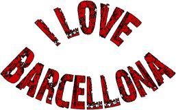 I Love Barcellona text sign illustration Royalty Free Stock Photography