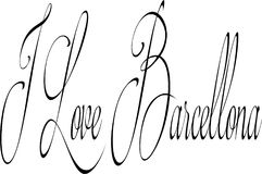 I Love Barcellona text sign illustration Royalty Free Stock Photo