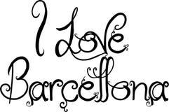 I Love Barcellona text sign illustration Stock Photo