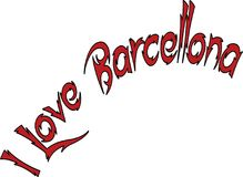 I Love Barcellona text sign illustration Royalty Free Stock Images