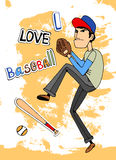 I Love baseball. Male baseball player in a - I Love baseball - card design with a fielder about to throw a ball  vector illustration Stock Image