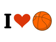 I love basketball. Heart and ball games. Emblem for sports fans Royalty Free Stock Photo