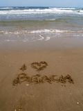I love the beach 2. Summer concept;I love the beach written on the sand Stock Photography