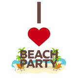 I love Beach Party. Travel. Palm, summer, lounge chair. Vector flat illustration. I love Beach Party. Travel. Palm, summer, lounge chair Vector flat Royalty Free Stock Photos