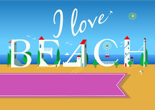 I love beach. Travel card Royalty Free Stock Image