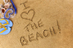 I love the beach summer vacation writing Royalty Free Stock Image