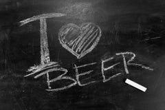 I love beer the inscription chalk on a blackboard Royalty Free Stock Photos
