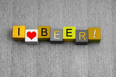I Love Beer, sign series for alcohol, beer and ale. Stock Photography