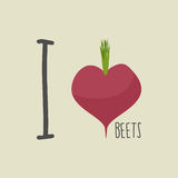I love beets. Heart of the Burgundy red beets. Vector illustrati Stock Photos