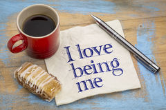 I love being me - napkin concept Royalty Free Stock Photography